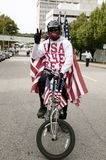Patriotic bicyclist Royalty Free Stock Images