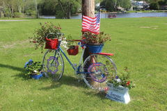 Patriotic Bike. With Flower Baskets, Serenac Lake, NY Royalty Free Stock Photos