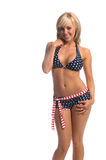 Patriotic Bikini Blonde Royalty Free Stock Photography