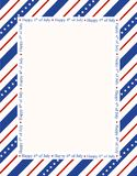 Patriotic border. Blue and red patriotic stars and stripes page  border / frame design with happy 4th of july text Stock Image