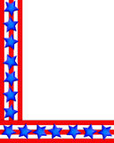 Patriotic Border 4th of July stars stripes. Illustration stars and stripes for 4th of July patriotic background, border or corner design with copy space Stock Photos