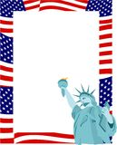 Patriotic Border. American flag and statue of liberty page  frame border Stock Photos