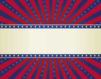 Patriotic border background. Blue and red retro patriotic stars and stripes background with frame Stock Image