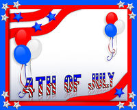 July 4th background. 3 Dimensional illustration of patriotic red white and blue balloons Stars and Stripes for 4th of july border or invitation background with Stock Photography