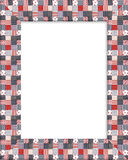 Patriotic border patchwork frame. Image and illustration composition of red, white and blue patriotic fabric patchwork pattern for background, border or frame Stock Images