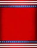 Patriotic Border. Red and blue American flag grunge border / frame on halftone dots background Royalty Free Stock Photo