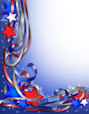 Patriotic Border Stars and Ribbons. 3D Illustrated stars and ribbons for patriotic background, border or corner design with copy space Stock Photo