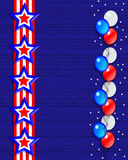 Patriotic Border Stars and Stripes. 3D Illustration stars and stripes ribbons for 4th of July, Memorial day or labor day patriotic background, border balloons Vector Illustration