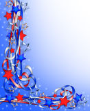 Patriotic Border Stars and Stripes. 3D Illustration stars and stripes ribbons for patriotic background, border or corner design with copy space Stock Images