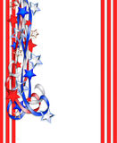 Patriotic Border Stars and Stripes. 3D Illustration stars and stripes ribbons for patriotic background, border or corner design with copy space Stock Image