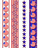 Patriotic borders 4th of July. Illustrated patriotic borders with stars, stripes, American  flag buttons for 4th of July, Labor day, veteran's day background Stock Photos