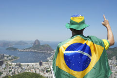 Patriotic Brazil Fan Standing Wrapped in Brazilian Flag Rio Stock Photo