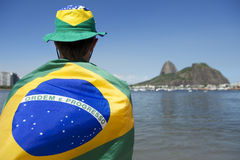 Patriotic Brazil Fan Standing Wrapped in Brazilian Flag Rio Stock Photos