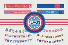Patriotic bunting flags and straw flags. 4th of July American Flag for Independence Day. Set of Patriotic bunting flags and straw flags. 4th of July American Royalty Free Illustration