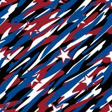 Patriotic Camouflage Red White and Blue with Stars American Pride Abstract Seamless Repeating Pattern Vector Illustration stock photos