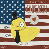 Patriotic chicken greeting card. The funny vector postcard with cute tiny yellow baby chicken with USA flag background. For holiday and celebration Stock Photos