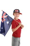Patriotic child holding an aussie flag royalty free stock photos