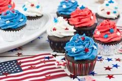 Patriotic Chocolate Cupcakes Royalty Free Stock Photos