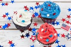 Patriotic Chocolate Cupcakes Stock Images