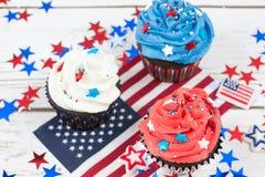 Patriotic Chocolate Cupcakes Royalty Free Stock Image
