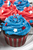 Patriotic Chocolate Cupcakes Royalty Free Stock Photography