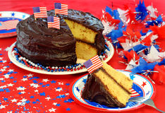 Patriotic Chocolate Iced Cake stock image