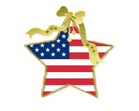 Patriotic Christmas decoration. With a glod ribbon Royalty Free Stock Images