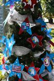 Patriotic christmas tree in fort Myers, Florida, usa. A view in FORT MYERS, UNITED STATES, NOVEMBER 25, 2017 : patriotic decorated christmas tree , november 25 stock image