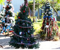Patriotic christmas tree in fort Myers, Florida, usa. A view in FORT MYERS, UNITED STATES, NOVEMBER 25, 2017 : patriotic decorated christmas tree , november 25 Royalty Free Stock Photography