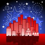 Patriotic city. Cartoon city with fireworks display in red white and blue Royalty Free Stock Photos