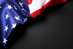 Background flag of the United States of America for national federal holidays celebration and mourning remembrance day. USA symbol. Patriotic composition w/ Stock Images