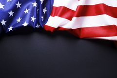 Background flag of the United States of America for national federal holidays celebration and mourning remembrance day. USA symbol. Patriotic composition w/ Royalty Free Stock Images