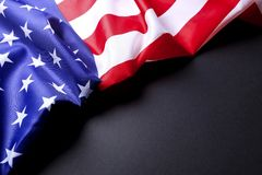 Background flag of the United States of America for national federal holidays celebration and mourning remembrance day. USA symbol. Patriotic composition w/ Royalty Free Stock Image