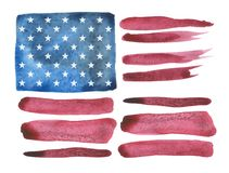 Watercolor stylized USA flag made by brush strokes. royalty free stock image