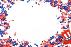 Patriotic confetti background of 4th of July. Independence Day concept. Isolated white background stock photo