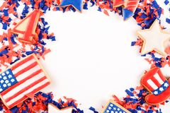 Patriotic confetti background of 4th of July. Independence Day concept. white background stock photography