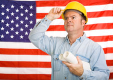 Patriotic Construction Worker Royalty Free Stock Image