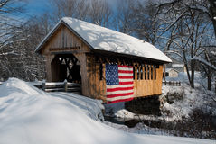 Patriotic Covered Bridge Stock Photography