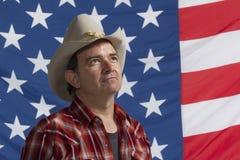 Patriotic cowboy, horizontal Stock Image