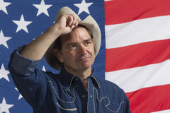 Patriotic cowboy taking off hat, horizontal Stock Photos
