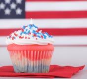 Patriotic Cup Cake Closeup stock photos