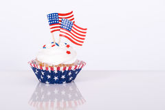 Patriotic cupcake with decorative American flags Royalty Free Stock Photo