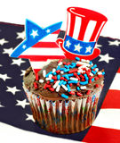 Patriotic Cupcake on Flag with star and tophat picks. Royalty Free Stock Image