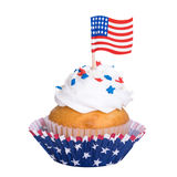 Patriotic cupcake isolated on white Stock Photos