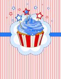 Patriotic cupcake place card. Patriotic cupcake with stars on the top place card stock illustration
