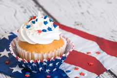 Patriotic cupcake with sprinkles Royalty Free Stock Photo
