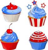 Patriotic cupcakes. American flag designed patriotic cupcakes Stock Photos