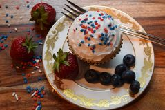 Patriotic cupcakes for July 4th celebration stock image