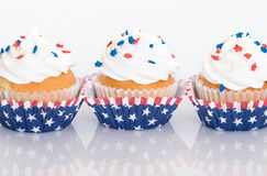 Patriotic cupcakes with sprinkles Stock Photography