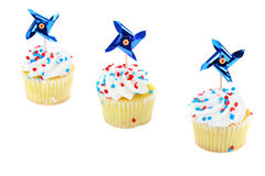 Patriotic cupcakes on white with copy space. stock images